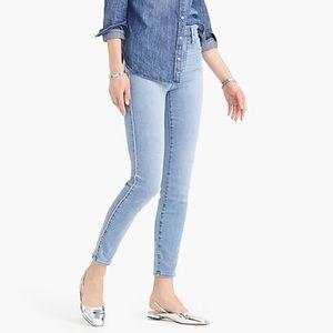 "J. Crew 10"" High Rise Toothpick Jean Pink Piping"